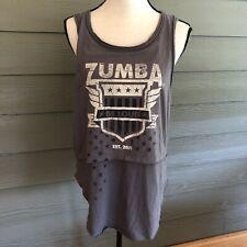 Zumba Fitness Wear Grey Tank Top Medium M Raw Hem Layered Look Women's Shirt