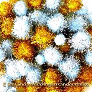 30 Gold and Silver Glitter Craft  Pom Poms 15mm to 35mm Christmas tinsel festive