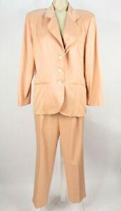 Petite Sophisticate 2-Piece Pants Suit Set Size 12 12P Peach Pink Jacket Pleated