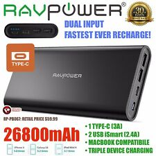 RAVPower 26800mAh Portable Charger USB C Dual Input Battery Power Bank RP-PB067
