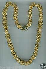 "Moda 14K Clad Bronze 18"" Polished HEAVY 10mm Byzantine Necklace, 108g ~ BOLD!"