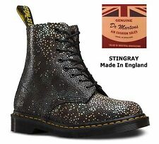 Dr Martens Limited Edition Hand Made In England Black Stingray Leather Boots