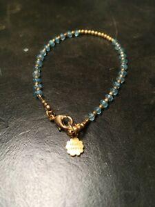 Bracelet, Azuni London, gold-plated, semi-precious aqua stone