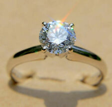 Wedding Ring Solid 14k White Gold 2.00 ct Round Cut Moissanite Engagement