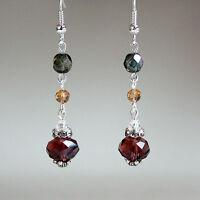 Burgundy green crystal vintage silver long drop earrings wedding bridesmaid gift