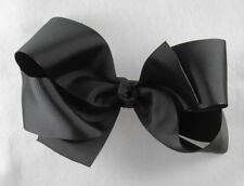 Personalized Embroidered Big Black Grosgrain Ribbon Hair Bow French clip