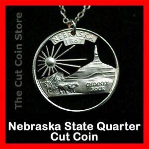 Nebraska 25¢ NE Quarter Hand Cut Coin Necklace Cornhusker State Chimney Rock