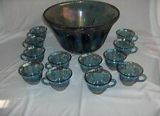13 Pc Vintage Punch  Set  Indiana Glass Carnival  Grape Iridescent Princess Blue