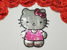 Hello Kitty patch, Fashion patch, Large Sequin patch, Iron on