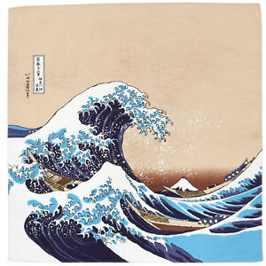 "Japanese Furoshiki Wrapping Cloth Scarf 19.75"" Cotton Hokusai Ukiyoe Nami Wave"