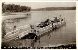 LAKE NORFORK, ARKANSAS - FERRY AT PANTHER BAY LANDING - OLD REAL PHOTO POSTCARD