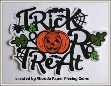 Halloween Trick Treat Title for Premade Scrapbook Pages Card, Die Cuts by Rhonda
