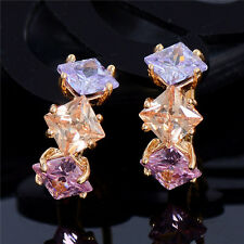 Trendy 3 Colors Square Cubic Zirconia Hoop Earrings For Women 18K Gold Plated