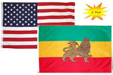 3x5 3'x5' Wholesale Set (2 Pack) USA American & Lion Of Judah Ethiopia Flag