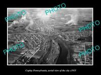 OLD LARGE HISTORIC PHOTO OF COPLAY PENNSYLVANIA, AERIAL VIEW OF CITY c1935