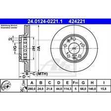 ATE 2x Bremsscheiben belüftet beschichtet 24.0124-0221.1
