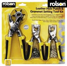Rolson ® Leather Hole Punch & Grommet Setting Tool Kit Eyelets Pliers Belt Shoe