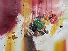 Pintura Al Óleo Grande Abstracto Colorido Lona Original Arte Contemporáneo Moderno Rojo