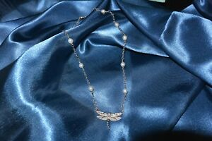 Tiffany&Co 18K White Gold dragonfly necklace, with diamonds and pearls.