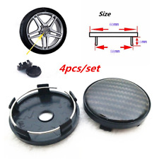 4 Pcs 60MM Black Carbon Fiber Look Auto Car Wheel Hub Center Caps Cover Plastic