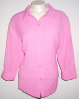 White Stag Women's Blouse Size Large Pink Button Front Shirt 3/4 Sleeve Top
