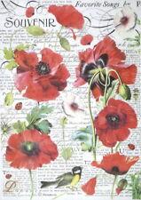 Rice Paper for Decoupage Scrapbook Craft Sheet - Botanic poppy