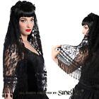 Sinister Gothic Black Lace Wedding Veil w Venetian Lace Fringe  Satin Roses.