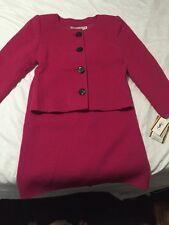 New NWT Yves Saint Laurent Diffusion Femmes Medium M Fuchsia Hot Pink Suit Skirt