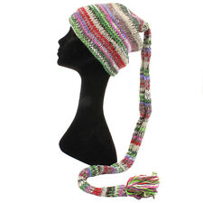 WOOL KNIT TAIL HAT HIPPY FESTIVAL SLOUCH BEANIE FLEECE LINED Multicoloured Mix