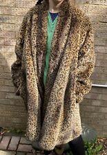 River Island Brown Animal Print Stripe Faux Fur Chunky Swing Open Jacket Coat 14