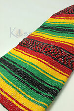 NEW LARGE 5X7 Rasta Serape Reggae Falsa  Beach Blanket Hippie Yoga Festival IRIE