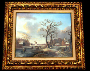 Winterlandschaft, Jacobus van der Stok 1794-1864, Öl auf Holz