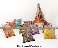 "Indian Cushion 16"" Patchwork Embroidered Pillow Cover Throw Handmade Decor Art"
