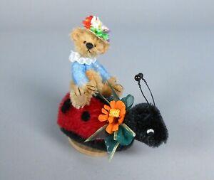 Deb Canham Ladybir Mohair Bear on Ladybug Miniature Animal