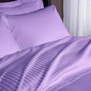 1000 TC  Egyptian Cotton 4Pc Sheet Set US-Olympic Queen Size Lilac  Striped