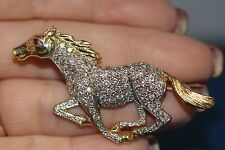 Equestrian Pave Diamond Horse Pin Pendant Charm 14K Solid Yellow Gold