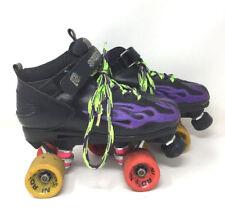 """Rock Skates """"Speed Freaks"""" SG-6888 Black w/ Metallic Purple Flames Sz 7 Kk3a"""