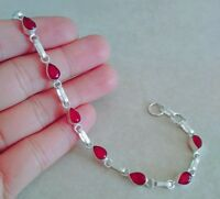 "NATURAL PEAR RED RUBY 925 STERLING SILVER LINK CHAIN BRACELET 7.5"" HANDMADE"