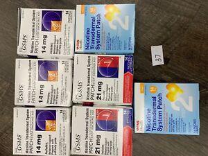 98 Nicotine Patches Step 1 and 2, [ 5 x 14ct 14mg, 2 x 14ct 21mg] dinged