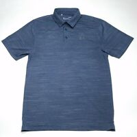 Under Armour Heatgear Blue Heather Polo Shirt Loose Fit Men's Size Medium Used