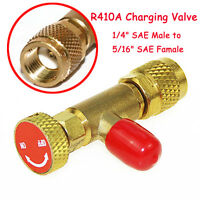"""Red R410A Refrigeration Charging Valve Adapter 1/4"""" SAE Male to 5/16"""" SAE Famale"""