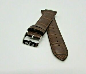 CITIZEN LEATHER  WATCH BAND BROWN  REPLACEMENT 🖤 WITH SILVER CLASP SIZE 22MM