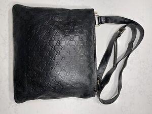 GUCCI Mens Brown GG Guccissima Leather Messenger / Shoulder Bag Crossbody w Logo