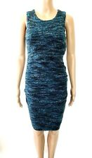 CUT25 by Yigal Azrouël Green Ruched Wool Blend Textured Sheath Dress Sz S