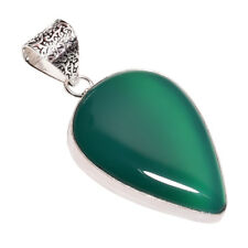 Sterling Silver Overlay Handmade Green CHALCEDONY Pendant Nlg-640 Rhodium Plated