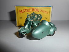 MATCHBOX  LESNEY MOTOR SCOOTER AND SIDECAR 36 1960      LAMBRETTA
