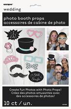 WEDDING PHOTO PROP SET (10pc) ~ Bridal Bachelorette Party Supplies Decorations