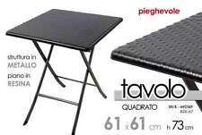 TAVOLO TAVOLINO PIEGHEVOLE QUADRATO 61*61*H73 CM STRUTTURA IN METALLO DUE-692345