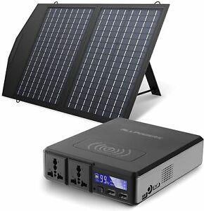 Portable Power Station 154Wh Solar Generator with 60W Foldable Solar Panel Camp
