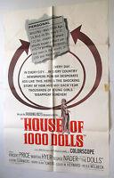 HOUSE OF 1000 DOLLS vtg 1967 MOVIE POSTER thriller VINCENT PRICE Mil Munecas